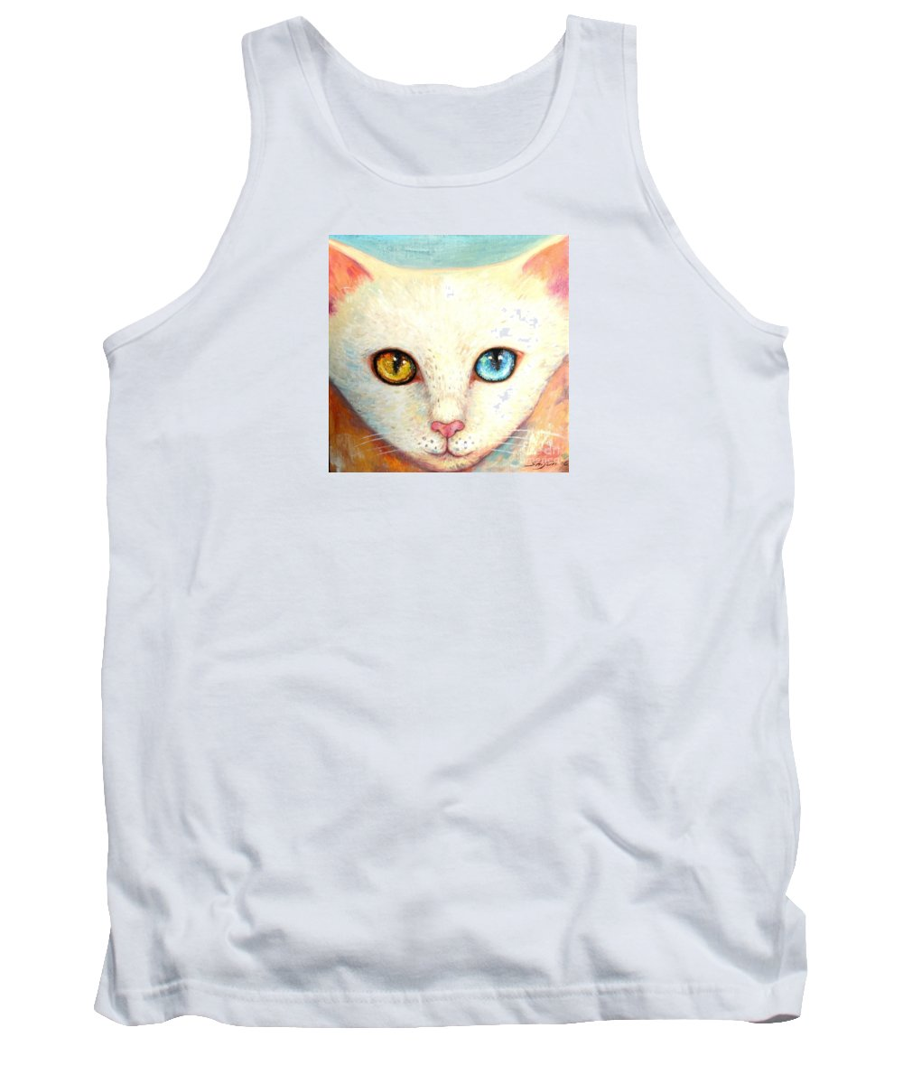 Portrait Tank Top featuring the painting White Cat by Shijun Munns