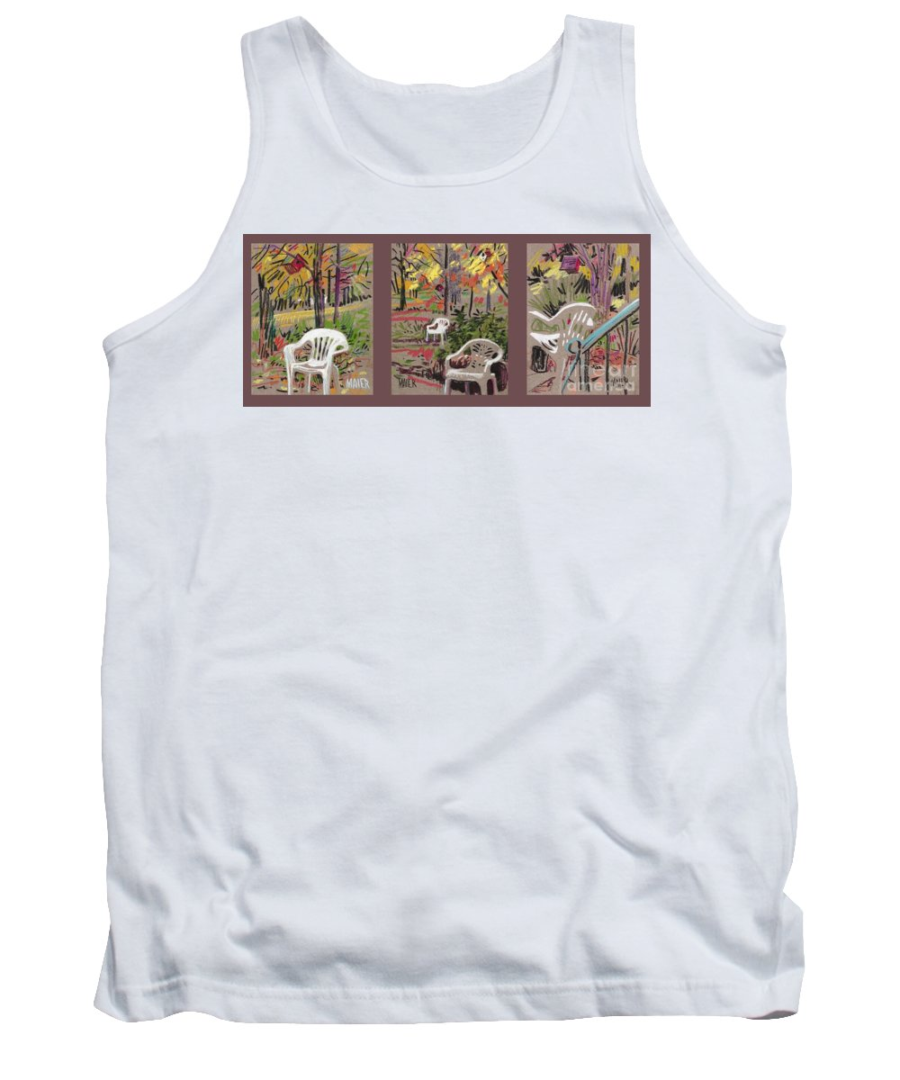 Pastel Tank Top featuring the drawing White Chairs And Birdhouses 1 by Donald Maier