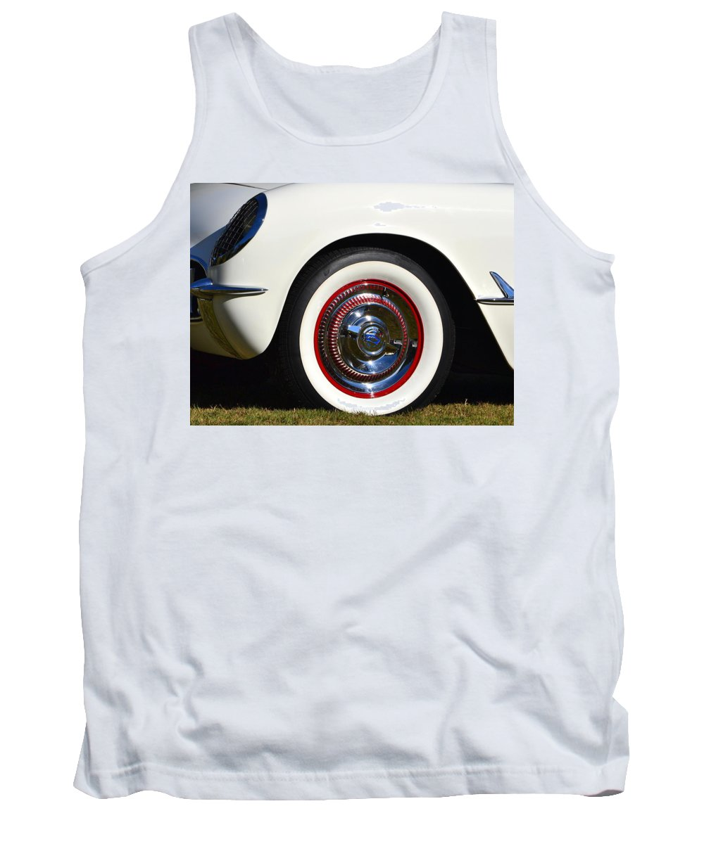 Tank Top featuring the photograph White Corvette Front Fender by Dean Ferreira