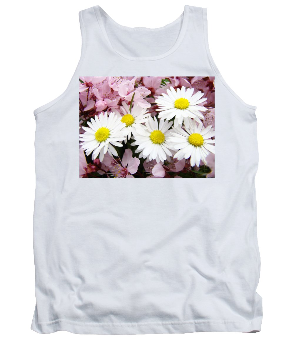 Blossom Tank Top featuring the photograph White Daisies Flowers Art Prints Spring Pink Blossoms Baslee by Baslee Troutman