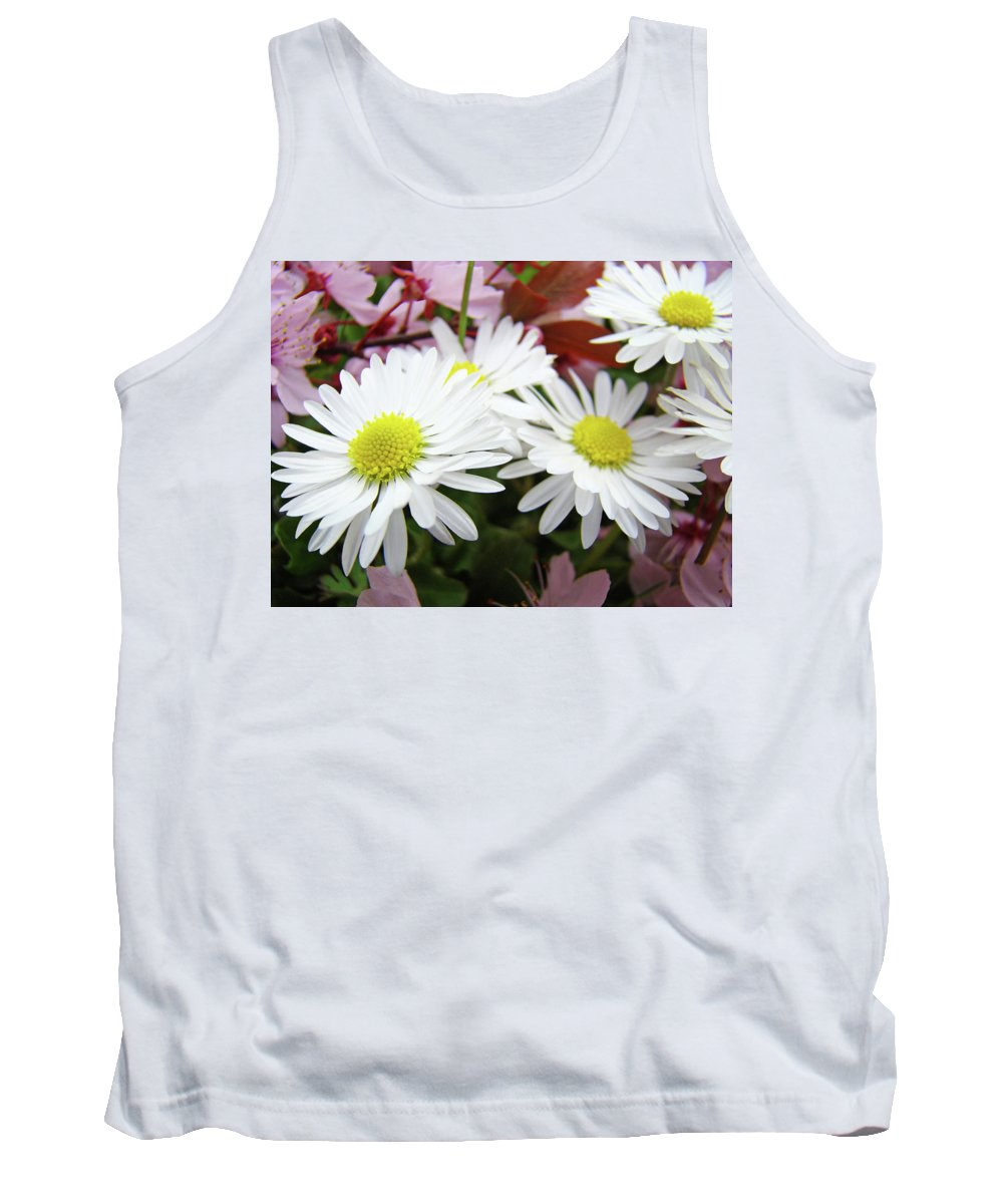 Nature Tank Top featuring the photograph White Daisy Floral Art Print Canvas Pink Blossom Baslee Troutman by Baslee Troutman