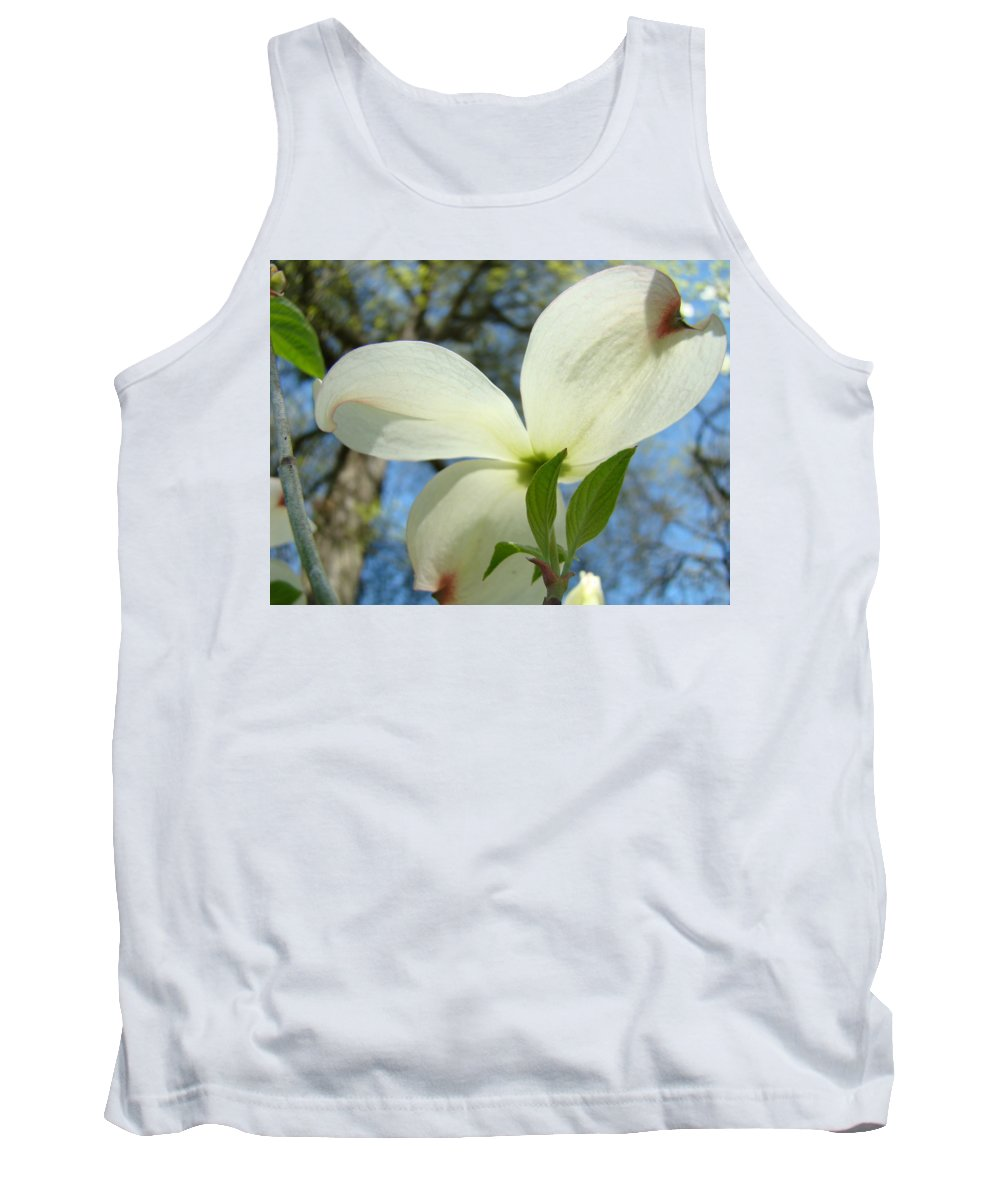 Giclee Art Print Tank Top featuring the photograph White Dogwood Flower Art Prints Blue Sky Baslee Troutman by Baslee Troutman
