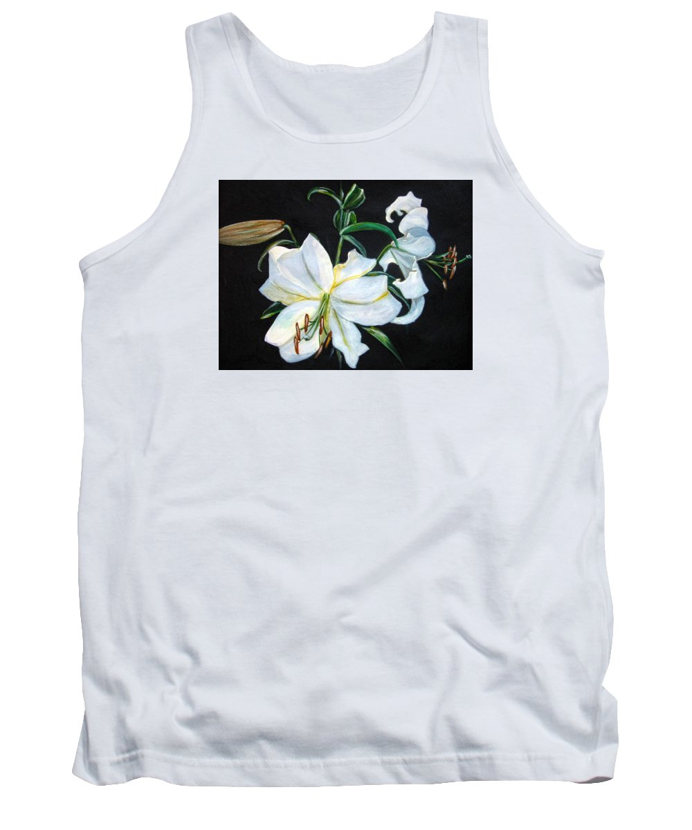 Flowers Tank Top featuring the painting White Lily by Leyla Munteanu