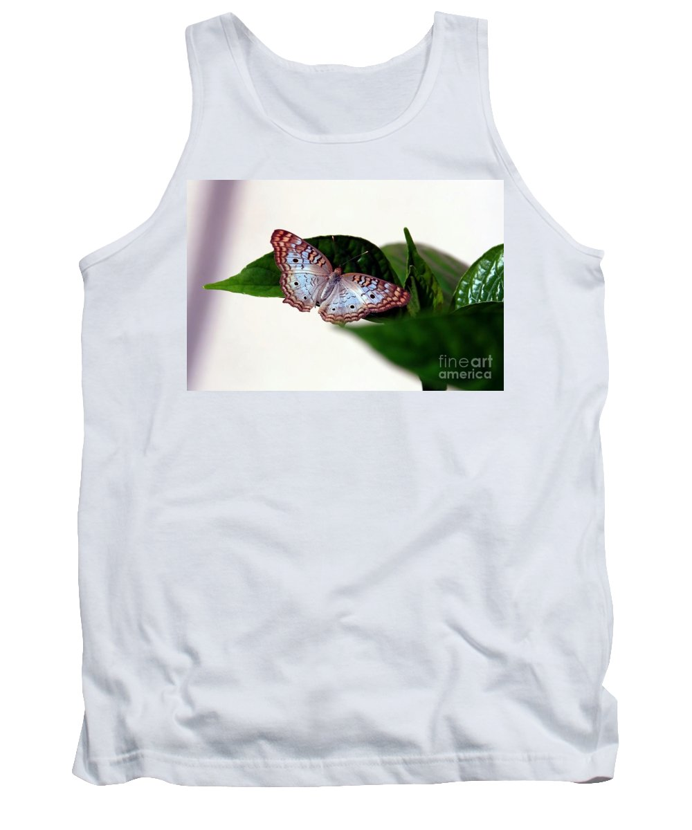 Butterfly Tank Top featuring the photograph White Peacock Butterfly 2 by Randy Matthews