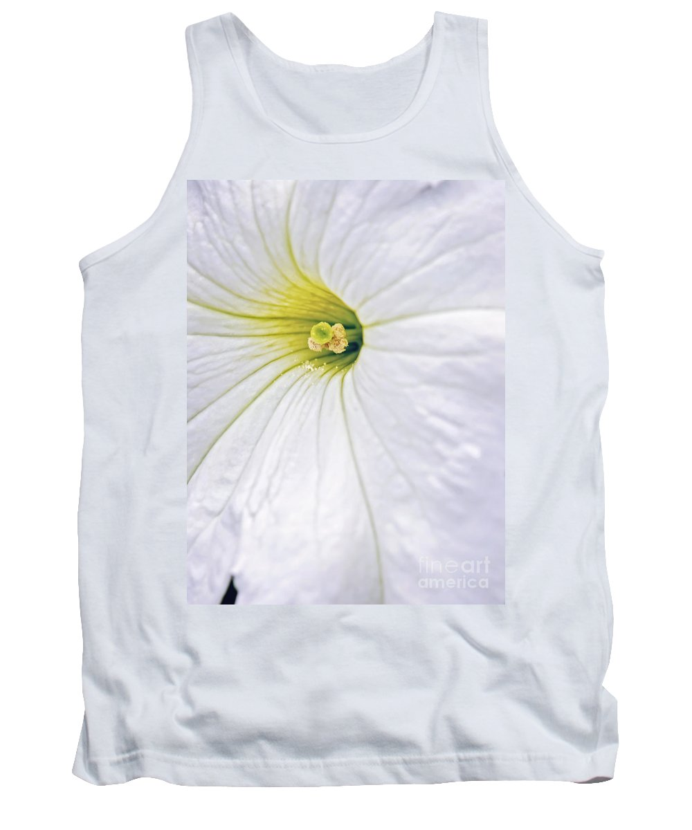 White Petunia Flower Picture Tank Top featuring the photograph White Petunia Wall Art by Gwen Gibson