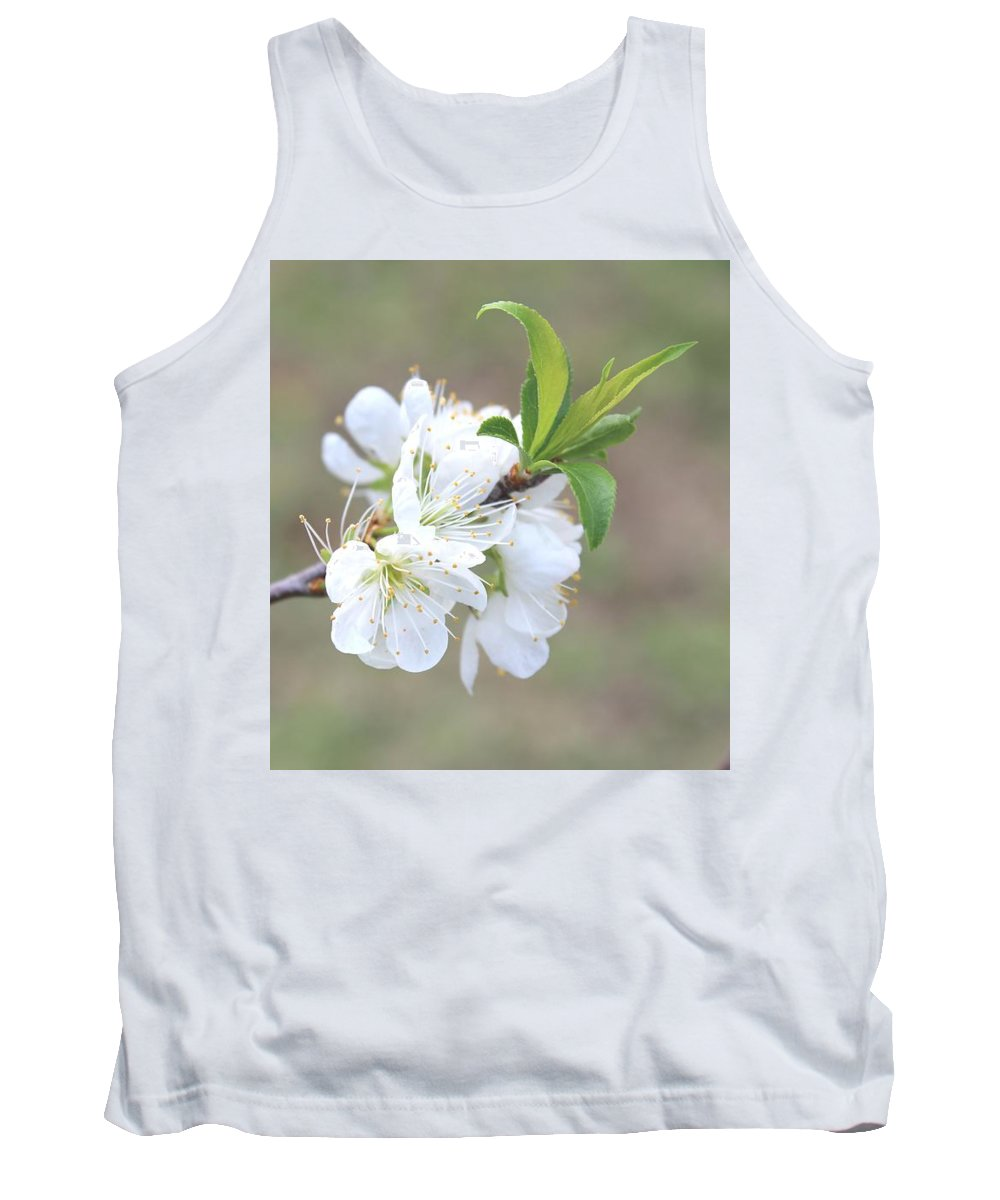 Flower Tank Top featuring the photograph White Plum Blossoms by Tracy