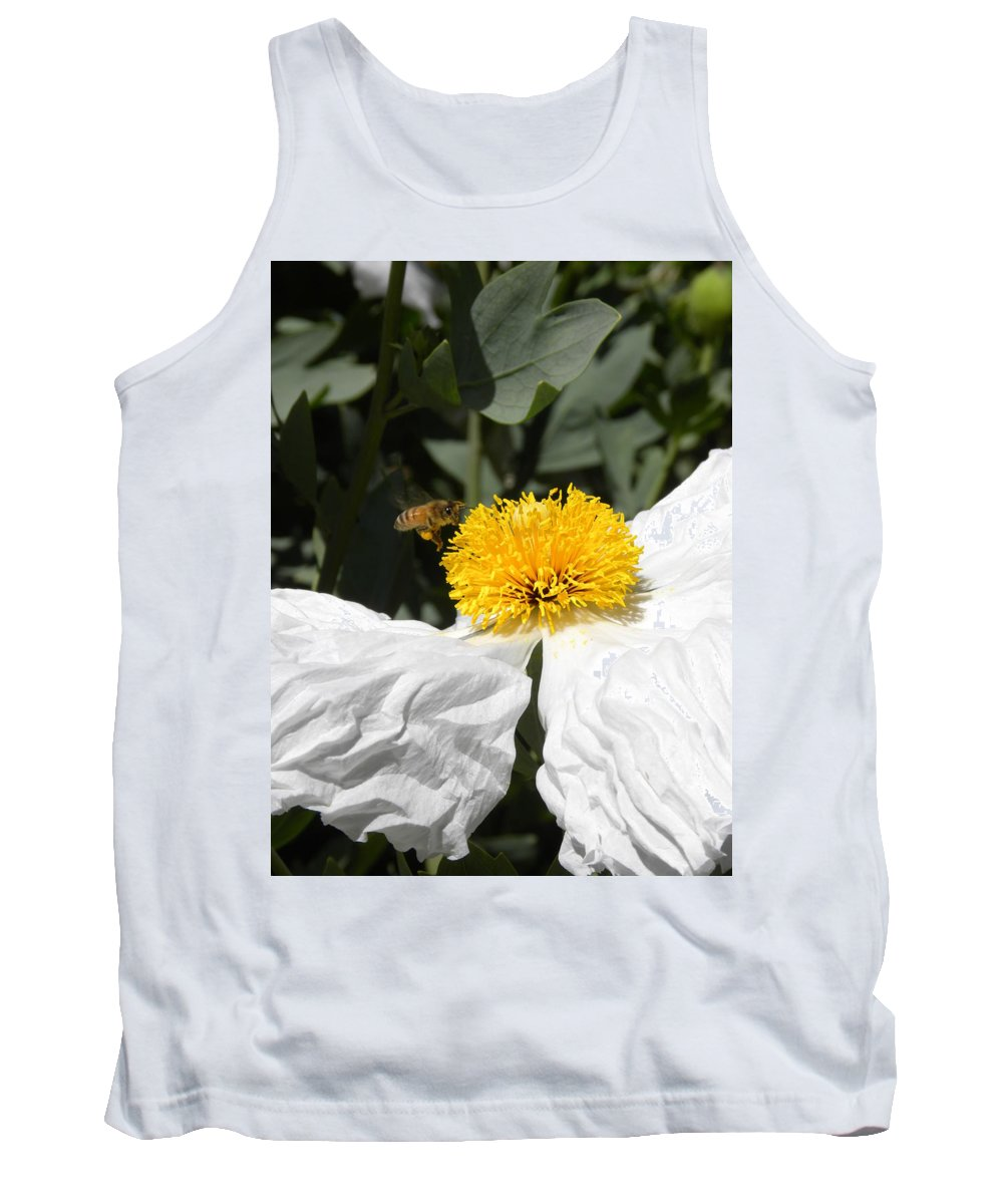 Flower Tank Top featuring the photograph White Poppy by Peggy McDonald
