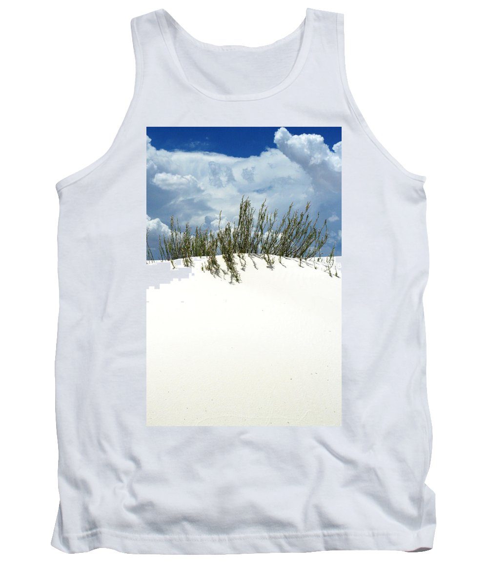 Sand Tank Top featuring the photograph White Sand Green Grass Blue Sky by Joe Kozlowski