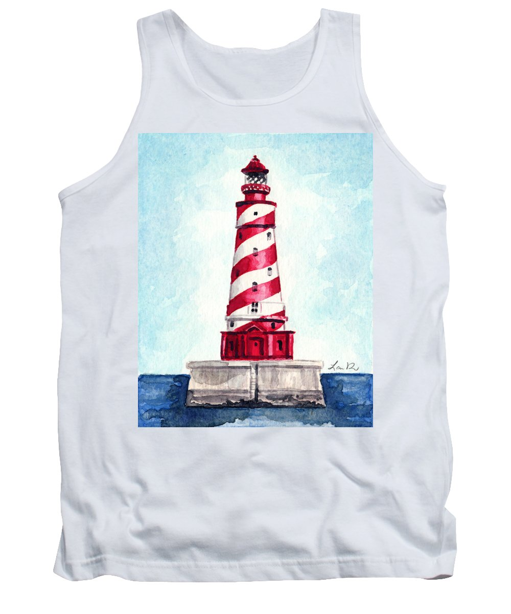 White Shoal Lighthouse Tank Top featuring the painting White Shoal Lighthouse Michigan Nautical Light House Red And White Candycane Stripes by Laura Row