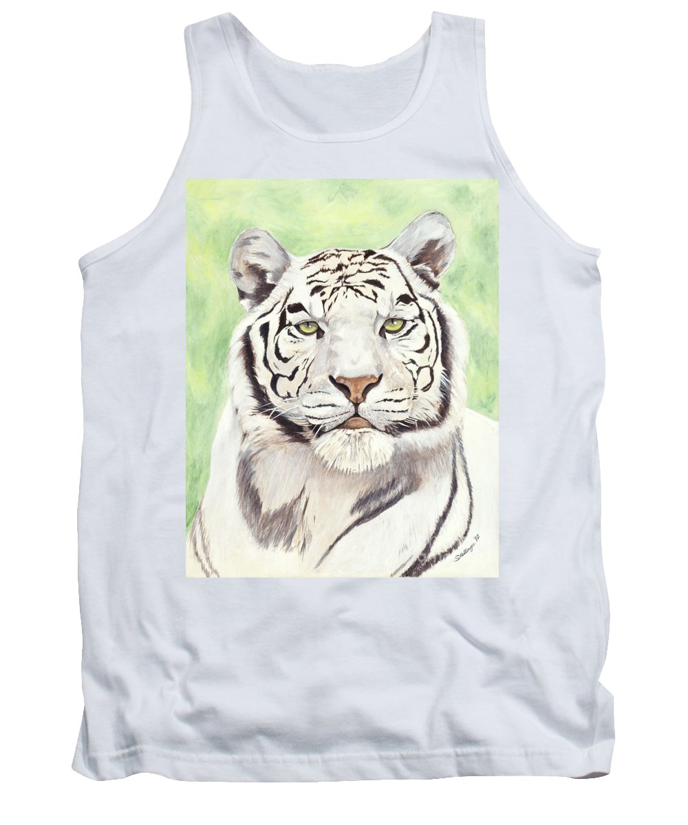 Tiger Tank Top featuring the painting White Silence by Shawn Stallings