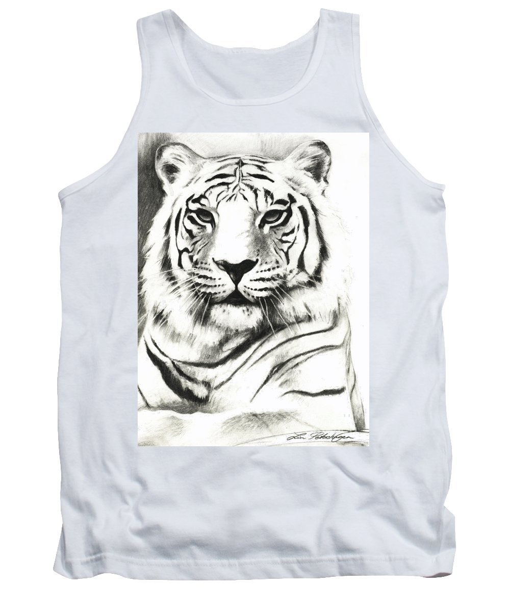 Lin Petershagen Tank Top featuring the drawing White Tiger Portrait by Lin Petershagen