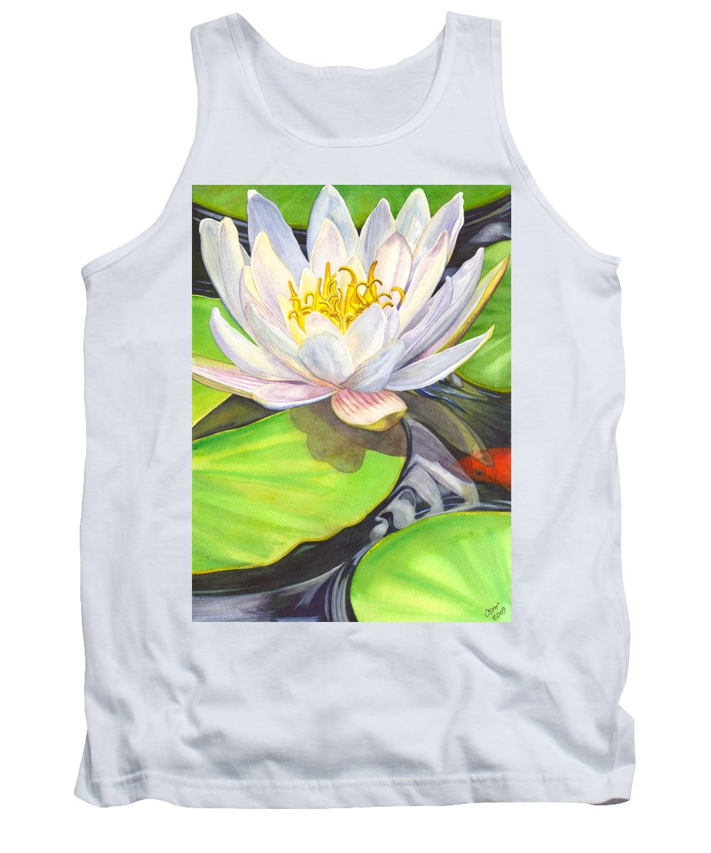 Lily Tank Top featuring the painting White Water Lily by Catherine G McElroy