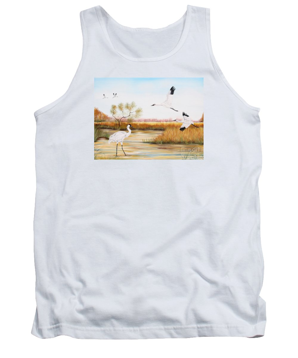 Jean Plout Tank Top featuring the painting Whooping Cranes-jp3151 by Jean Plout