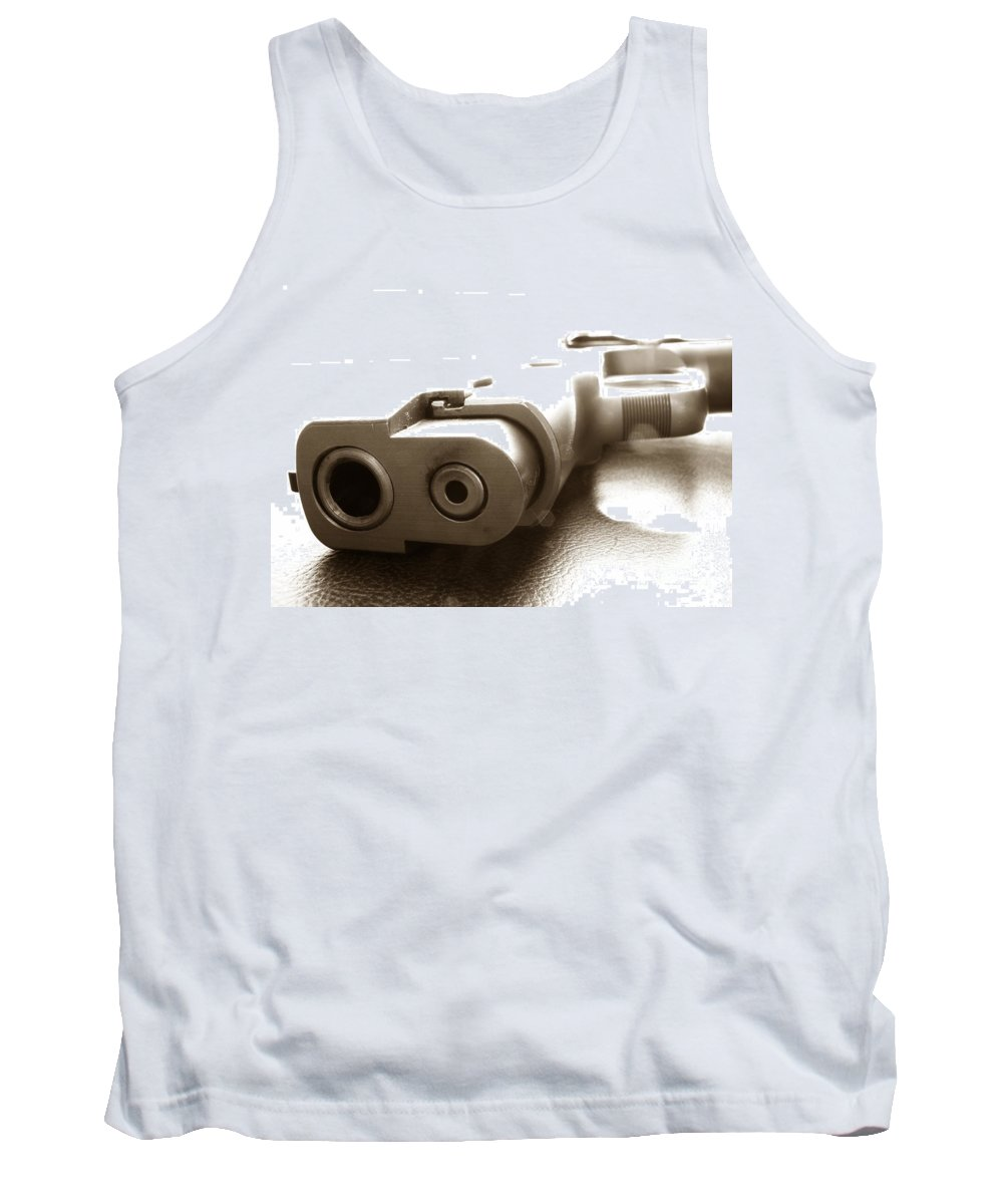 Gun Tank Top featuring the photograph Why by Amanda Barcon