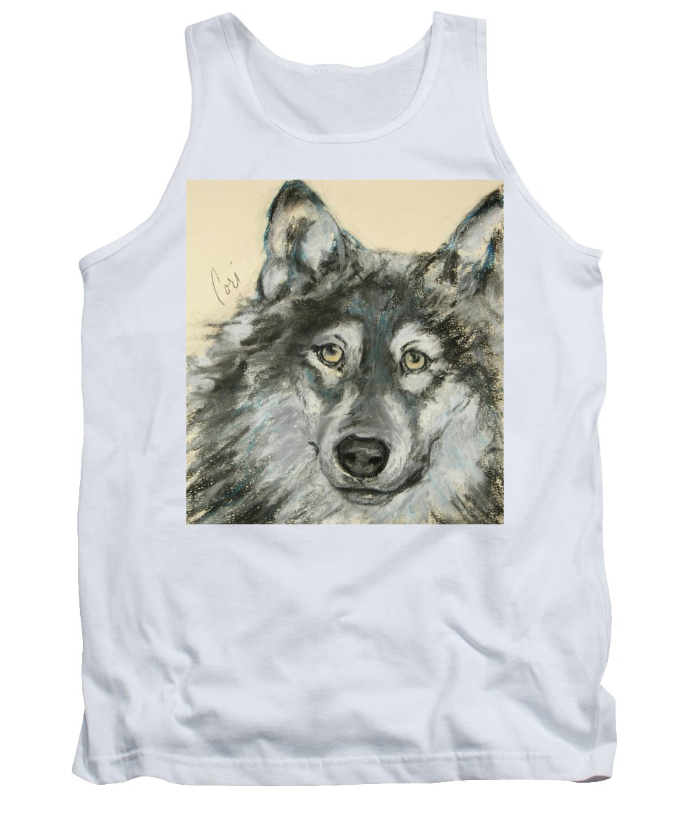 Wolf Tank Top featuring the drawing Wild At Heart by Cori Solomon