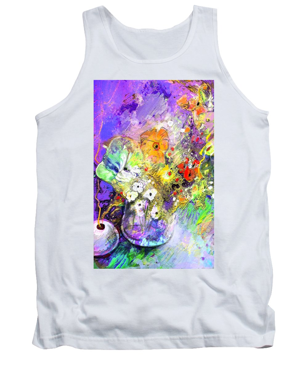 Still Life Tank Top featuring the painting Wild Flowers Bouquet 02 by Miki De Goodaboom