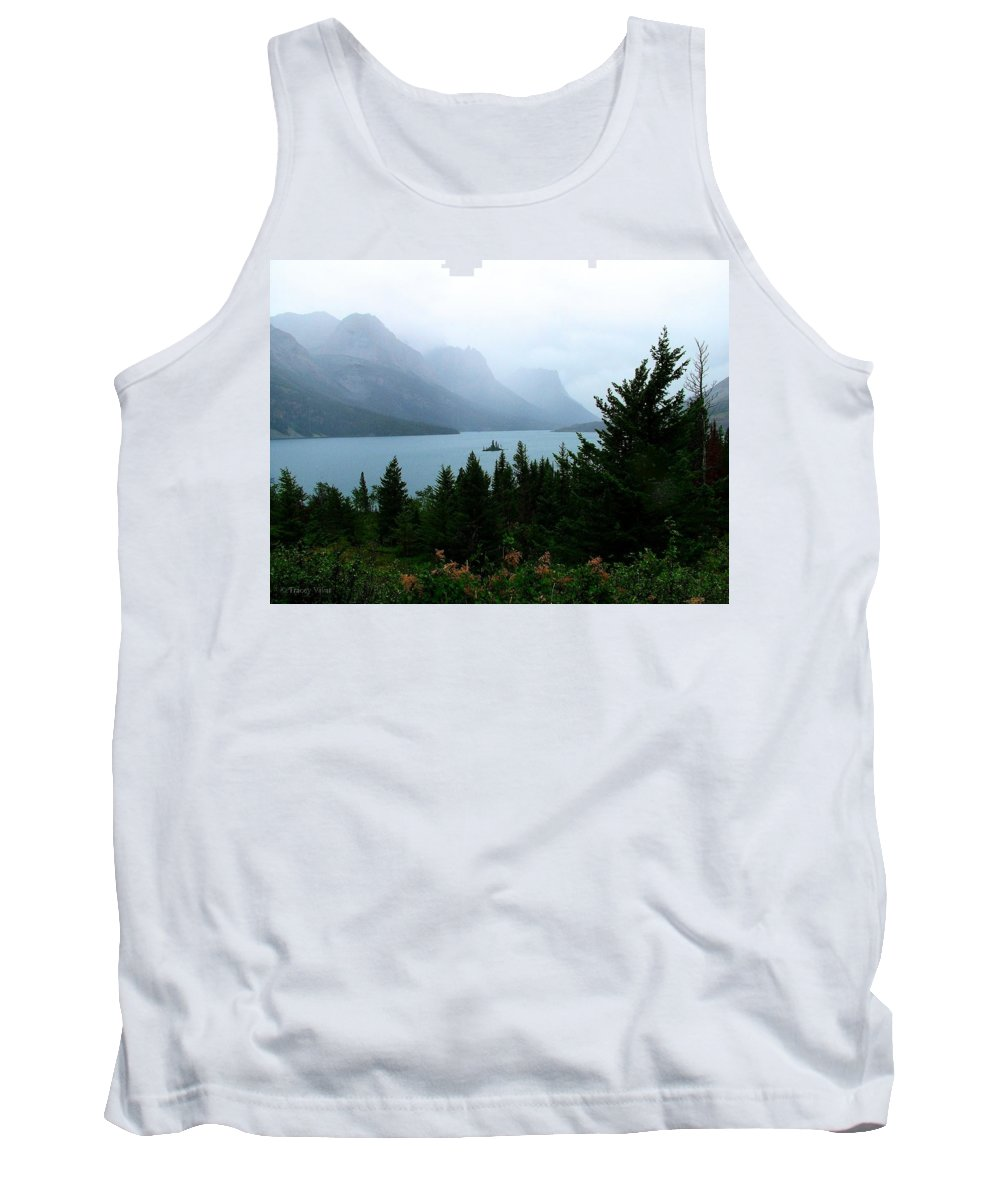 St Mary Lake Tank Top featuring the photograph Wild Goose Island In The Rain by Tracey Vivar