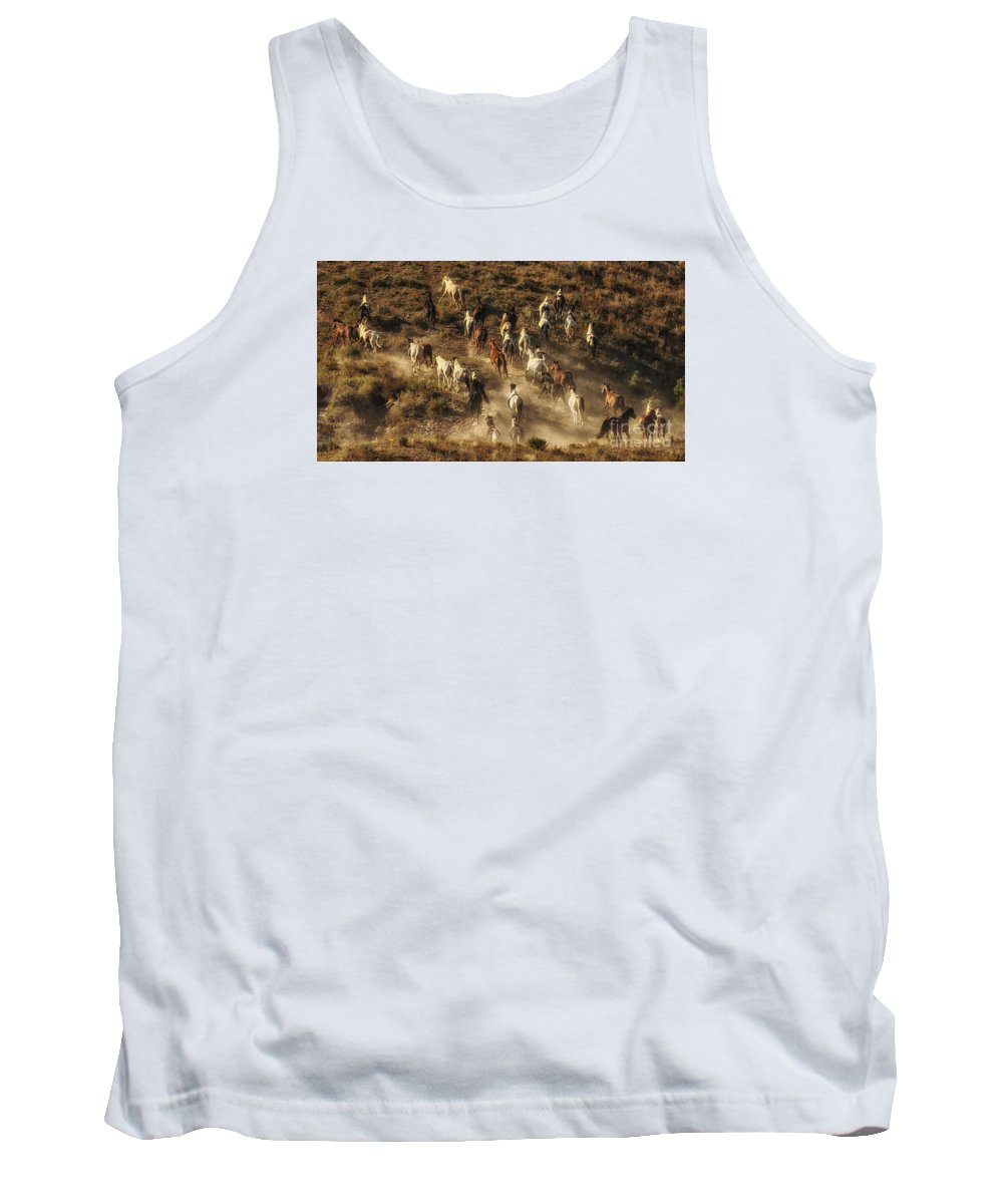 Wild Horses Gone Wild Tank Top featuring the photograph Wild Horses Gone Wild by Priscilla Burgers