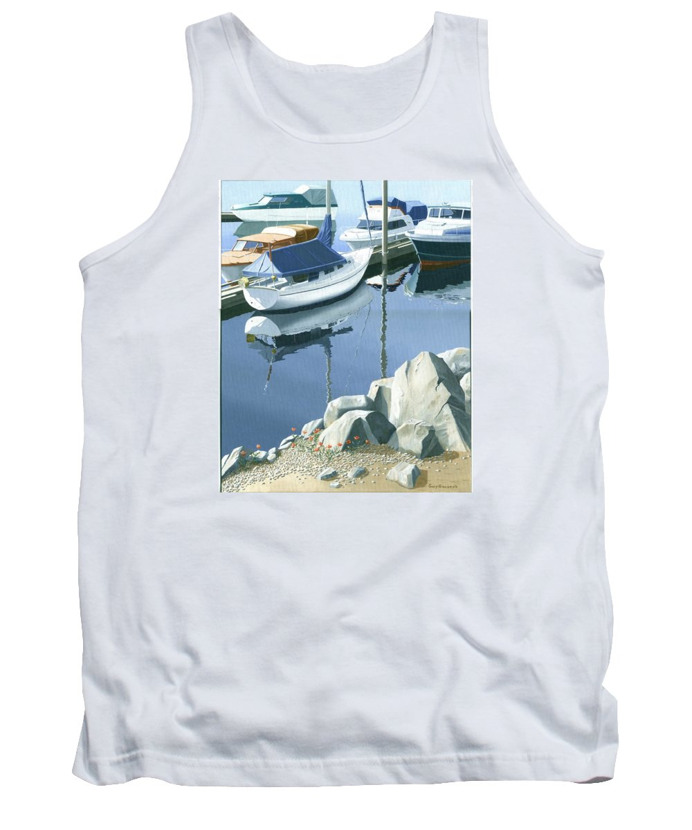 Sailboat Tank Top featuring the painting Wildflowers On The Breakwater by Gary Giacomelli