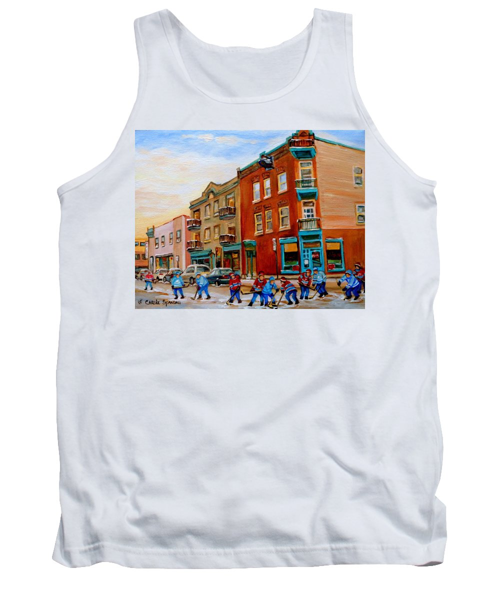 Wilenskys Deli Tank Top featuring the painting Wilensky's Street Hockey Game by Carole Spandau