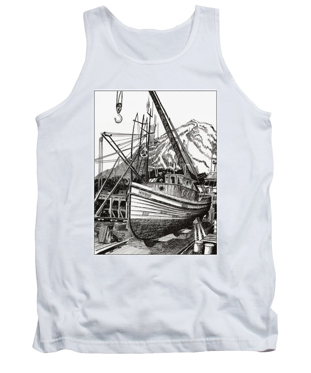 Nautical Shipyard Fishing Boats Tank Top featuring the drawing Will Fish Again Another Day by Jack Pumphrey