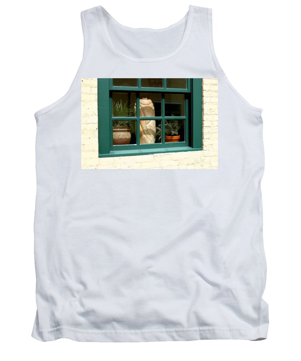 Fern Tank Top featuring the photograph Window At Sanders Resturant by Steve Augustin