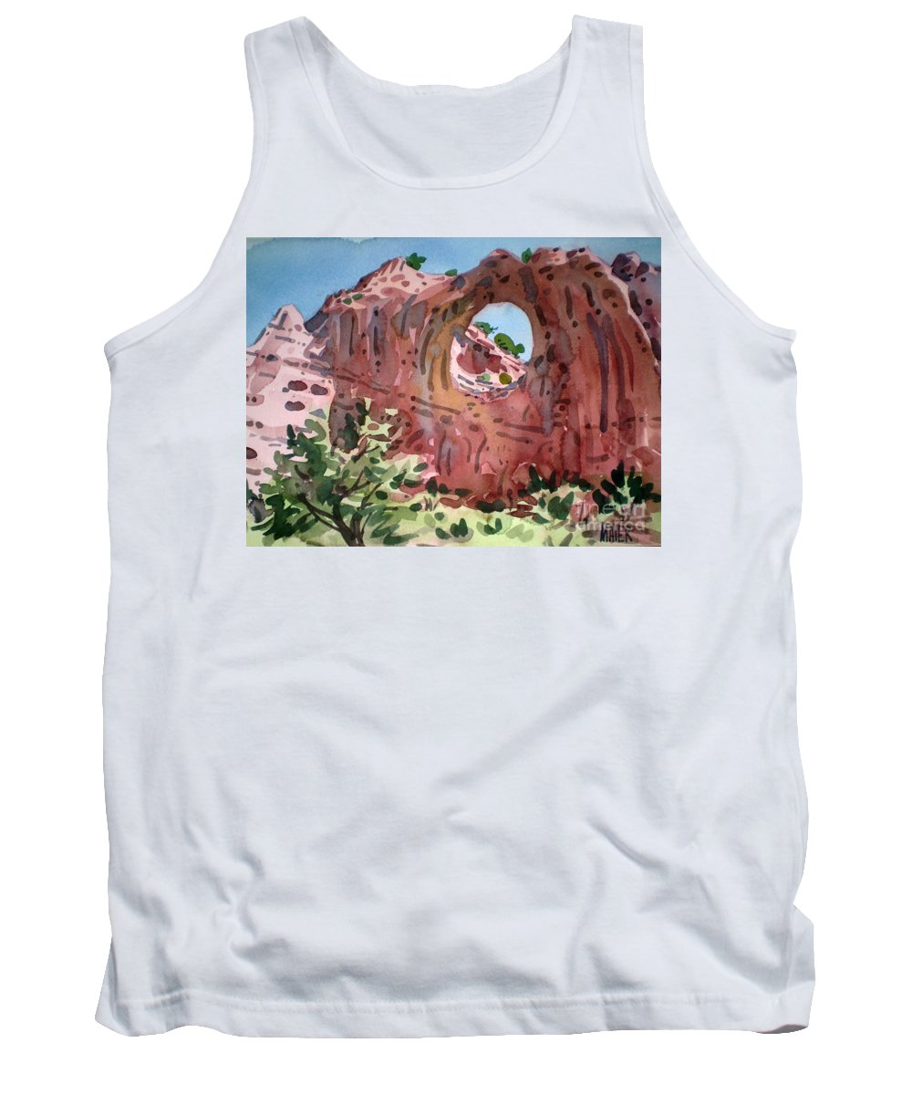 Navajo Tribal Park Tank Top featuring the painting Window Rock by Donald Maier