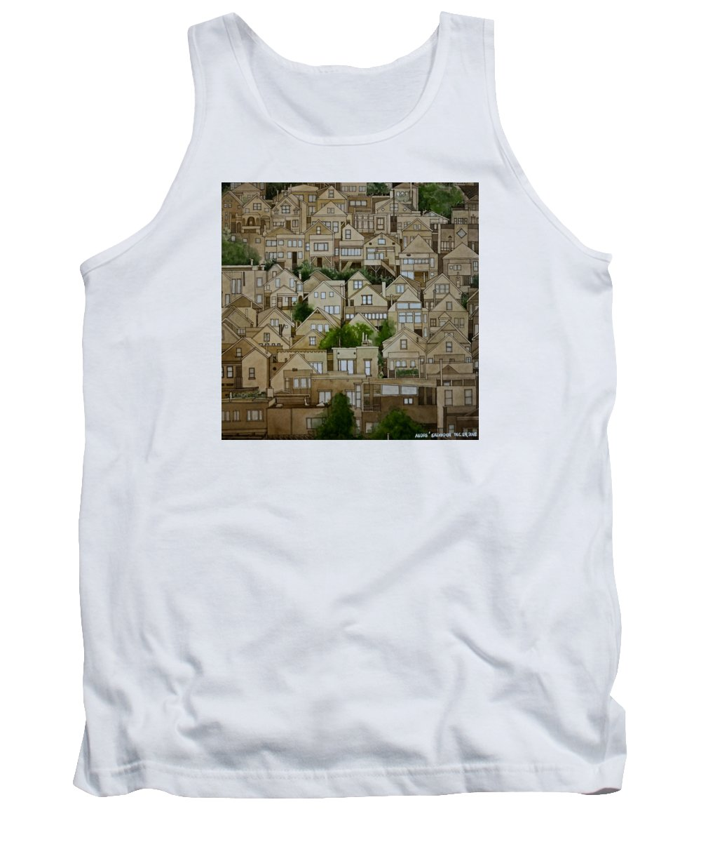 Transparent Watercolor Tank Top featuring the painting Windows Of Bernal Heights by Andre Salvador