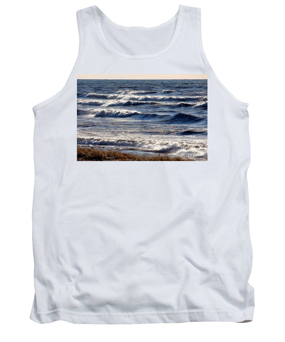 Grand Bend Tank Top featuring the photograph Windy Spring Lake Huron by John Scatcherd