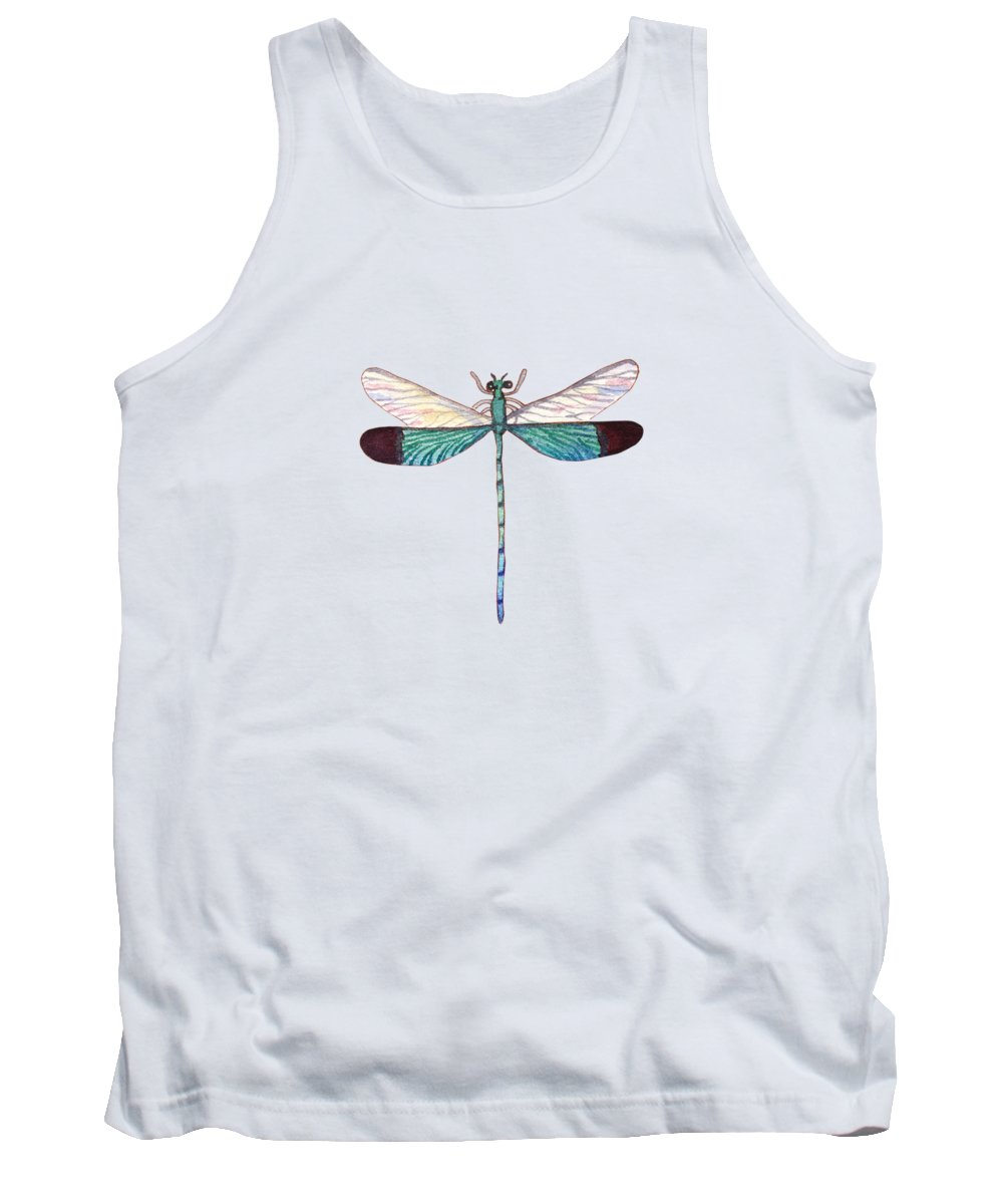Tropical Tank Top featuring the painting Winged Jewels 1, Watercolor Tropical Dragonfly Aqua Blue Black by Audrey Jeanne Roberts