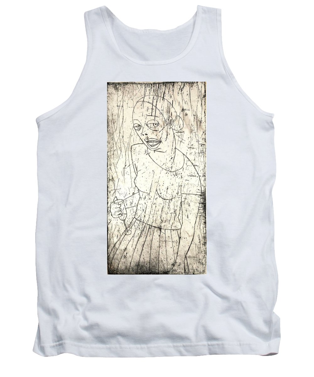 Clay Tank Top featuring the painting Wino by Thomas Valentine