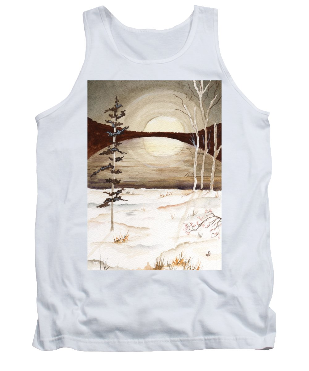 Watercolor Tank Top featuring the painting Winter Apex by Brenda Owen