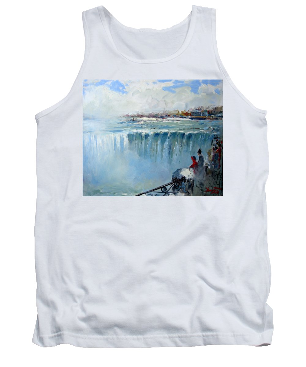 Landscape Tank Top featuring the painting Winter In Niagara Falls by Ylli Haruni