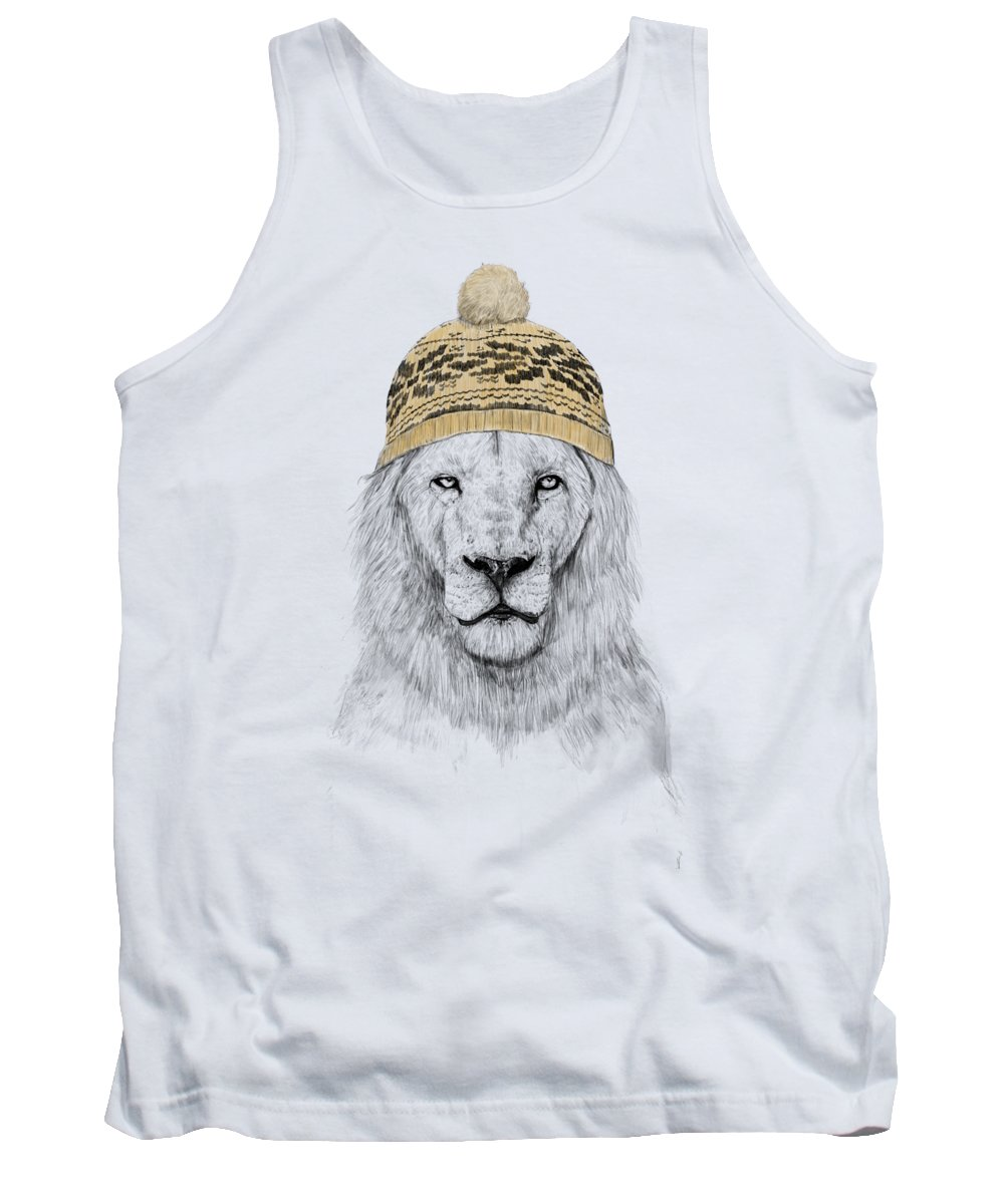 Lion Tank Top featuring the mixed media Winter Is Coming by Balazs Solti