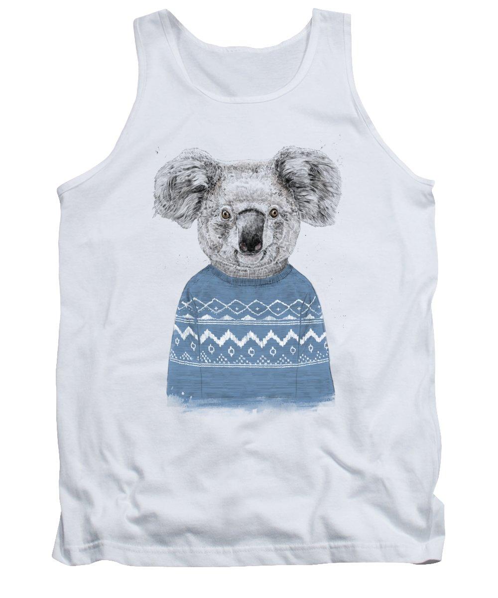 Koala Tank Top featuring the drawing Winter koala by Balazs Solti
