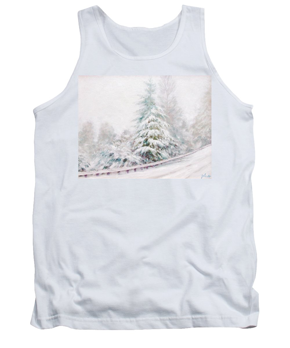 Winter Landscape Tank Top featuring the painting Winter Of 04 by Jim Gola