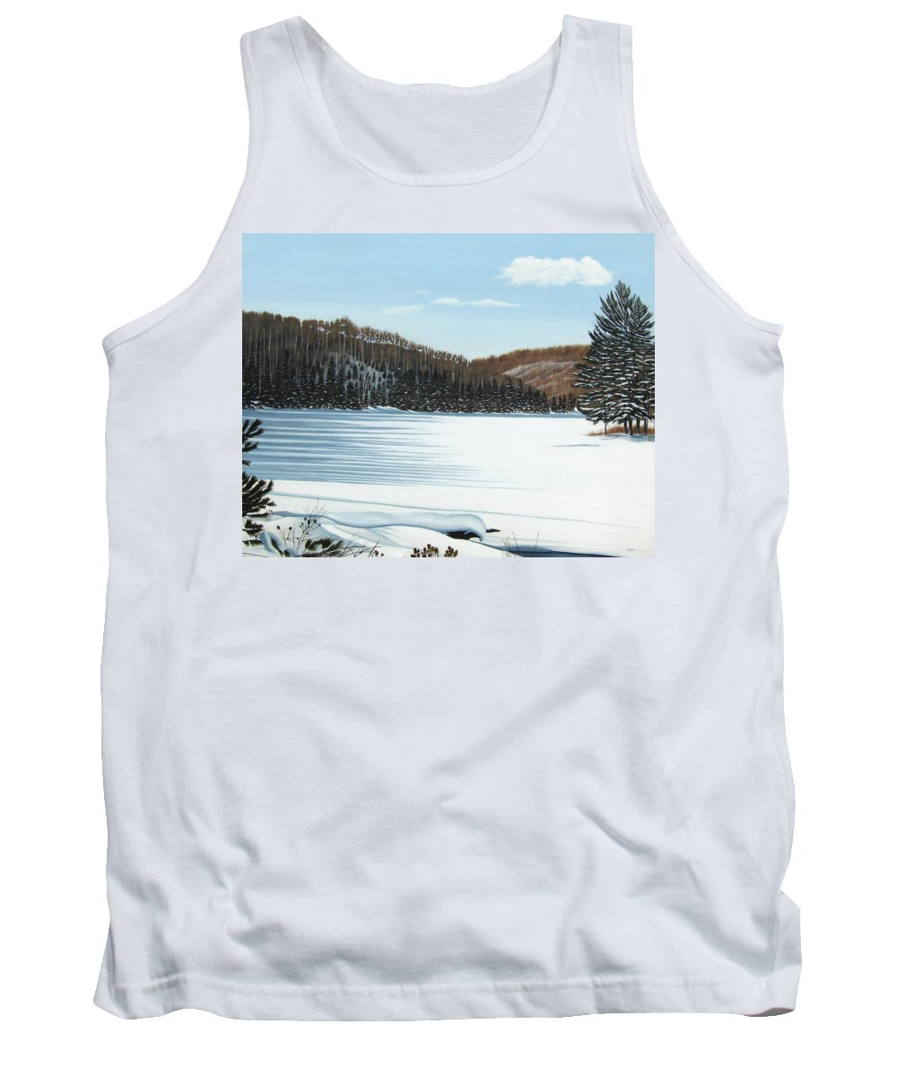 Landscapes Tank Top featuring the painting Winter On An Ontario Lake by Kenneth M Kirsch