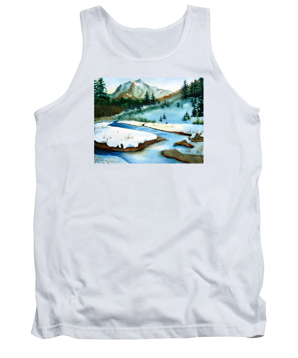 Winter Tank Top featuring the painting Winter Retreating by Karen Stark