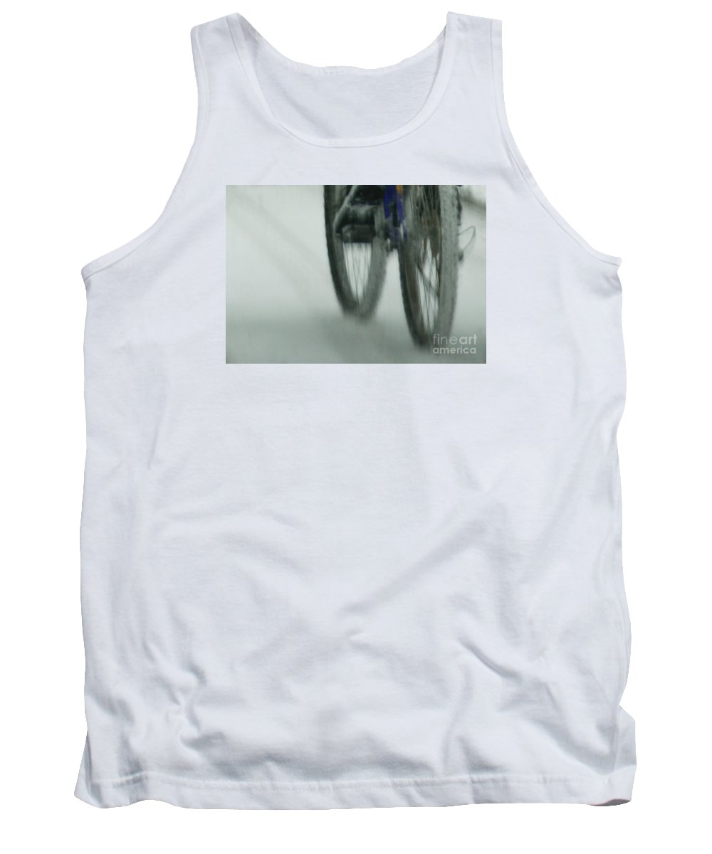 Bicycle Tank Top featuring the photograph Winter Ride by Linda Shafer