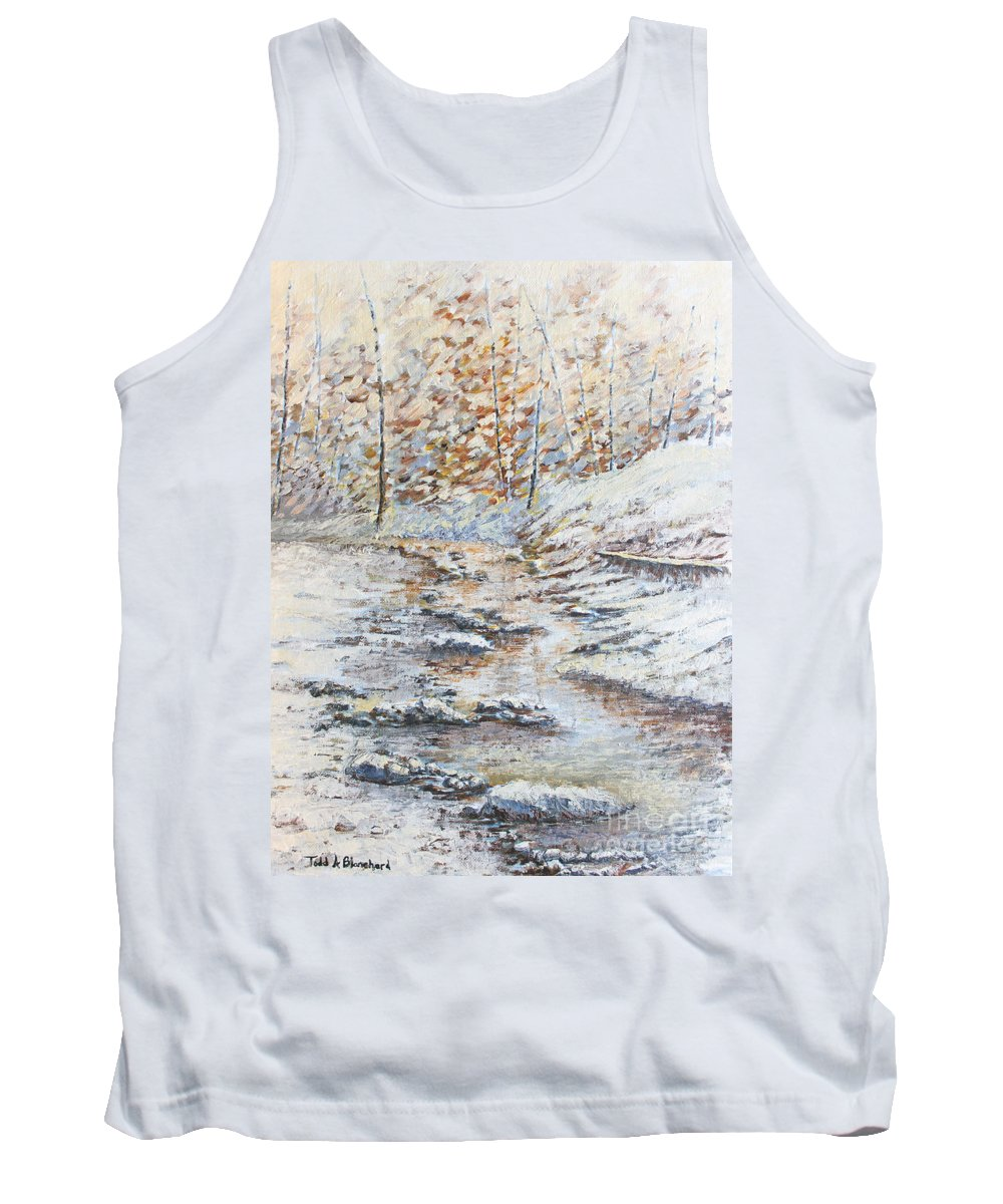 Landscape Tank Top featuring the painting Winter River by Todd A Blanchard