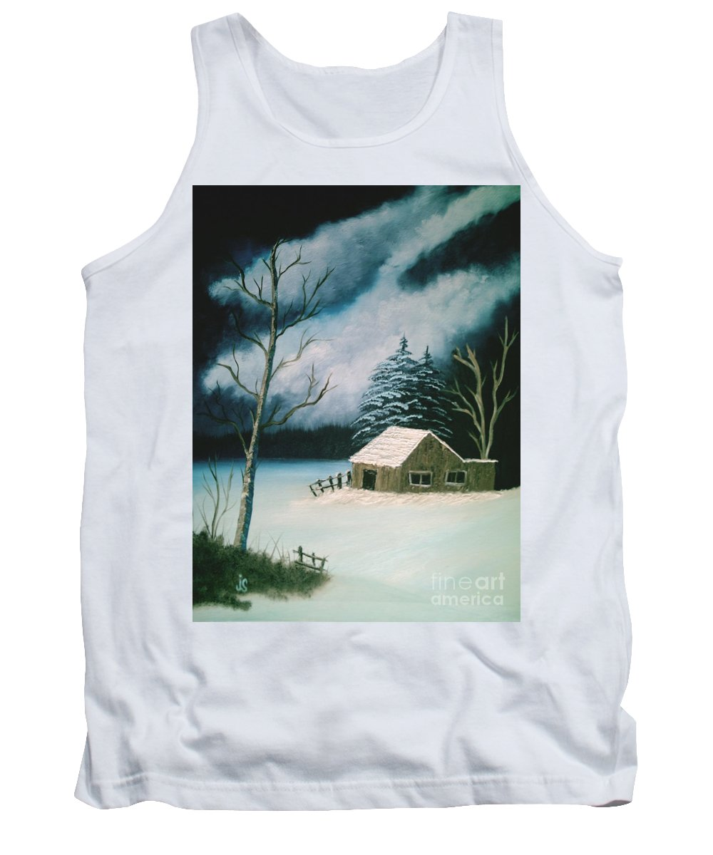 Winter Landscape Tank Top featuring the painting Winter Solitude by Jim Saltis