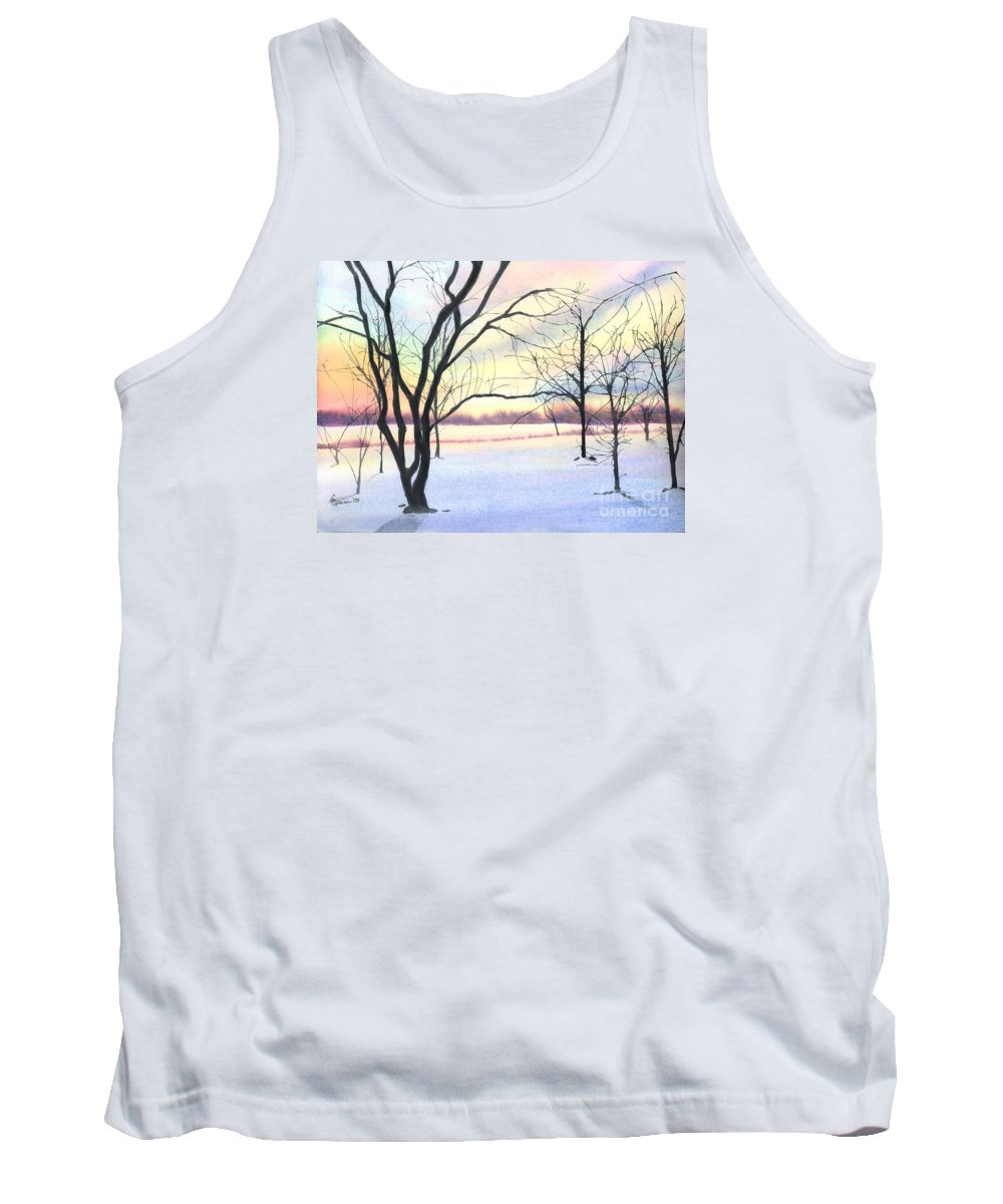 Sunrise Tank Top featuring the painting Winter Sunrise by Lynn Quinn