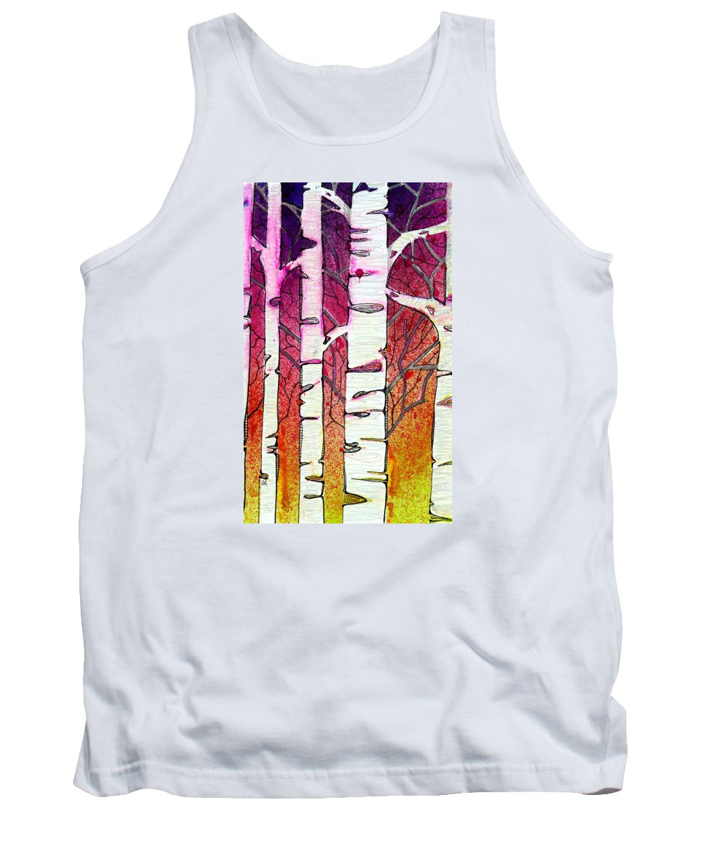 Birch Tank Top featuring the painting Winter Sunset Birch by Tonya Doughty