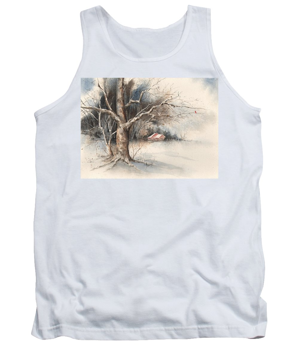 Tree Tank Top featuring the painting Winter Tree by Sam Sidders