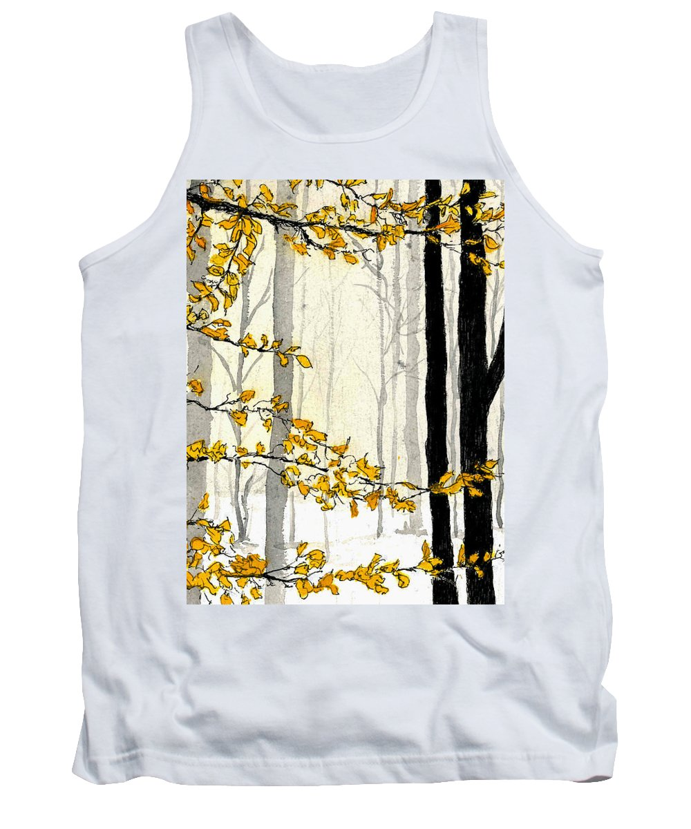 Nature Tank Top featuring the painting Winter Woods by Petra Stephens
