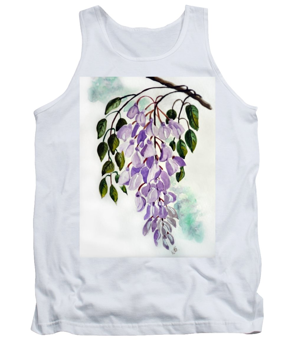 Floral Paintings Flower Paintings Wisteria Paintings Botanical Paintings Flower Purple Paintings Greeting Card Paintings  Tank Top featuring the painting Wisteria by Karin Dawn Kelshall- Best