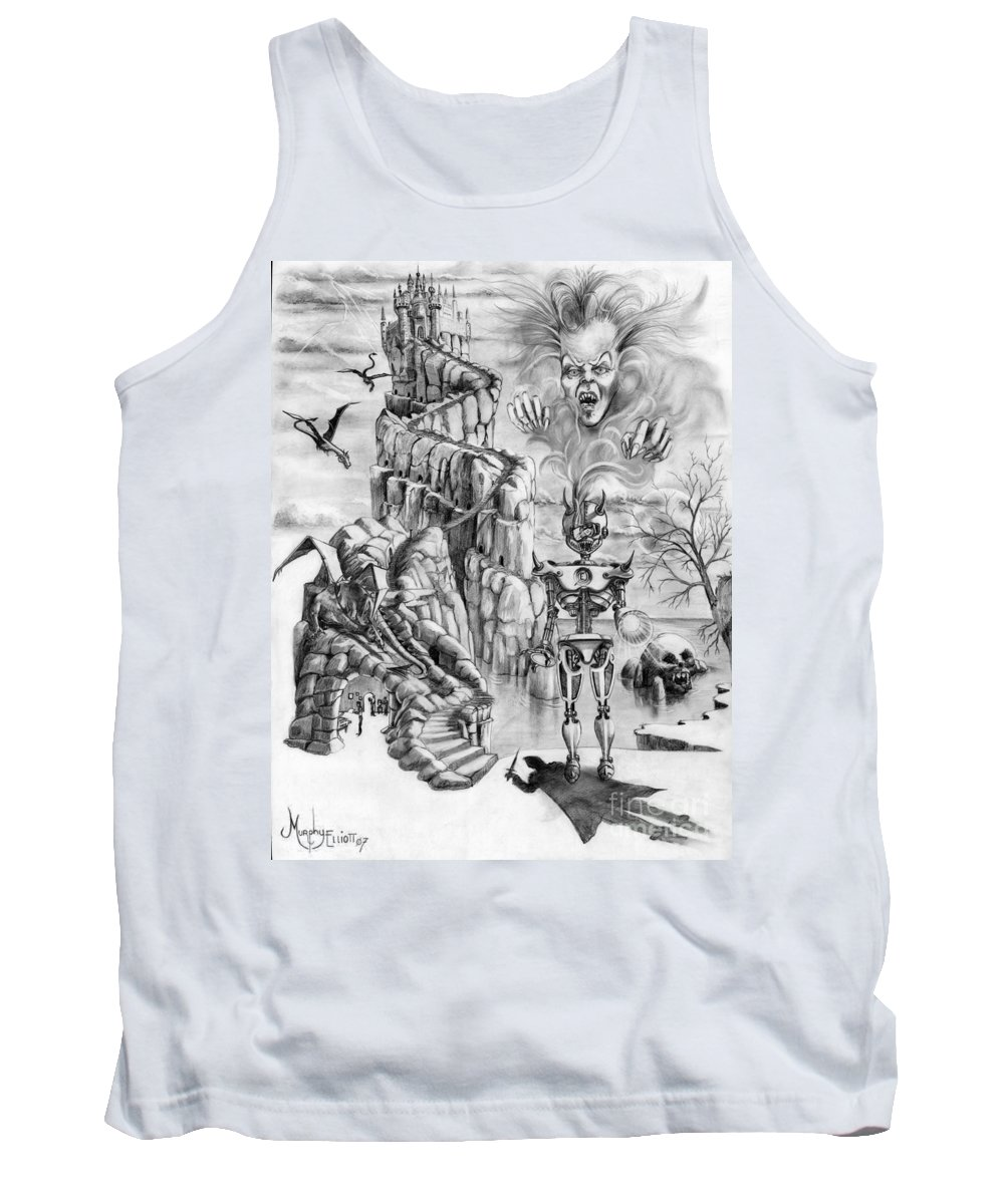 Witch Tank Top featuring the drawing Witch Hunter by Murphy Elliott