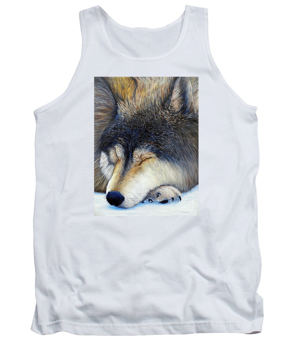 Wolf Tank Top featuring the painting Wolf Dreams by Brian Commerford