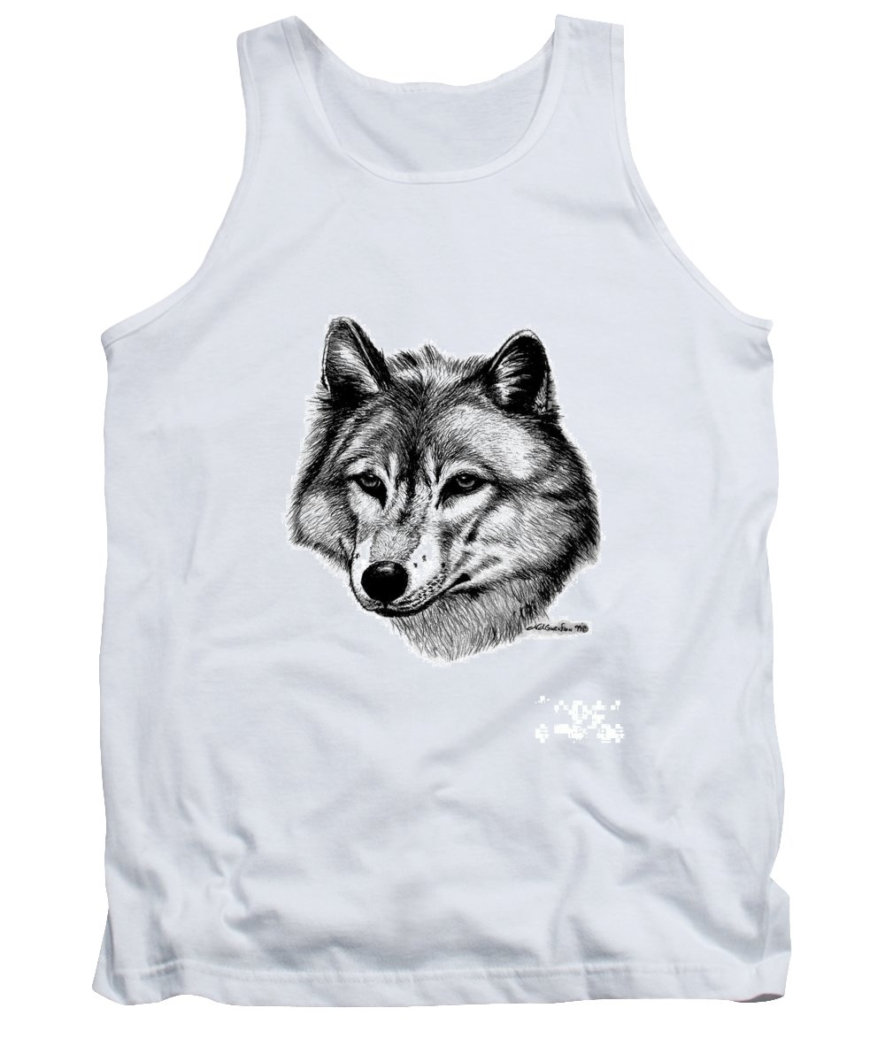 Wolf Tank Top featuring the drawing Wolf In Pencil by Nick Gustafson