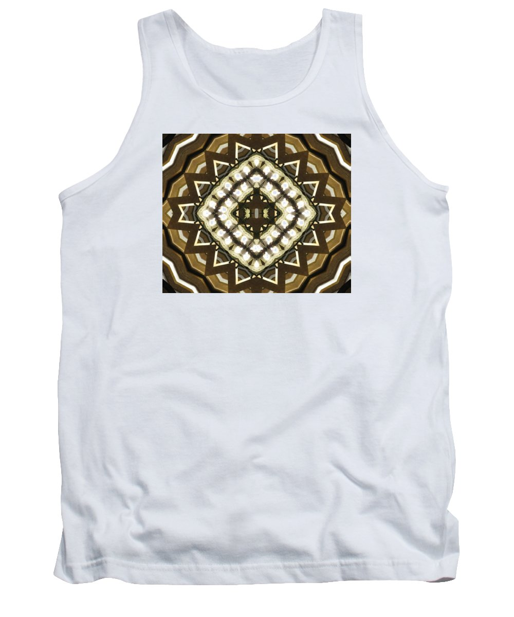 Kaleidoscope Tank Top featuring the photograph Wood And Light Shield by M E Cieplinski